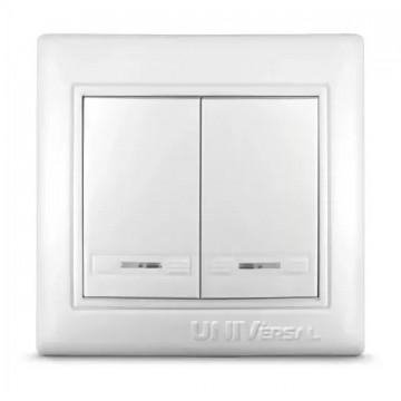Выключатель 2 кл с подсветкой UNIVersal серия Севиль бел