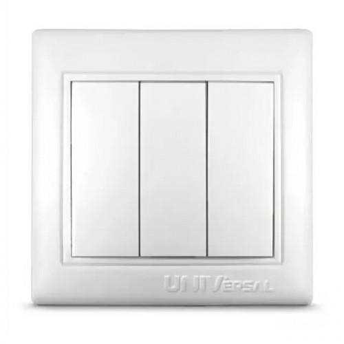 Выключатель трехклавишный UNIVersal серия Севиль, с/у, бел