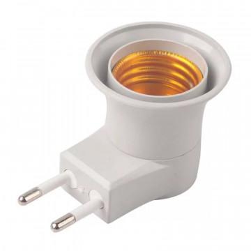 Адаптер вилка с патроном для обычных ламп E27