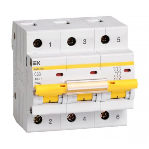 Выключатель автоматический трехполюсный IEK 3-P 63A