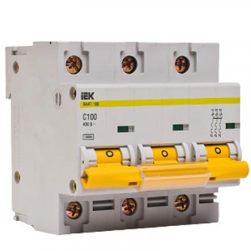 Выключатель автоматический трехполюсный IEK 3-P 100A