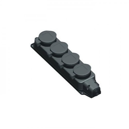 Колодка 4-х местная однофазная с заглушками (каучук) UNIVersal