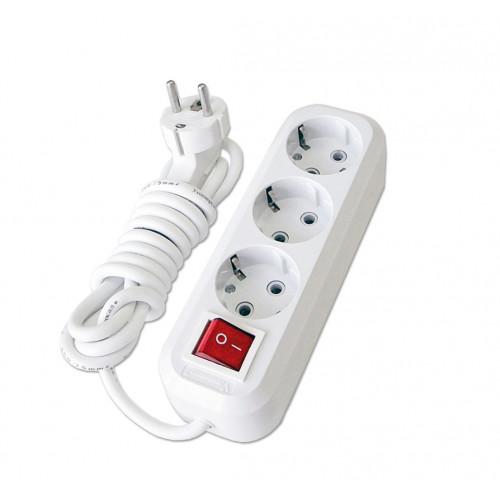 Удлинитель бытовой с выключателем ТМ СОЮЗ 2200Вт 3 гн. с/з ПВС 1,5м