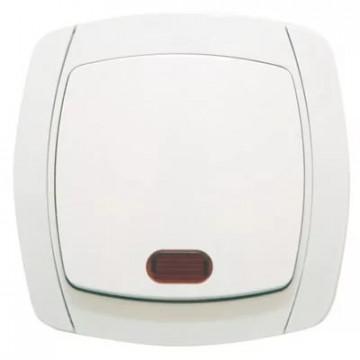 Выключатель одноклавишный с подсветкой UNIVersal серия Севиль бел