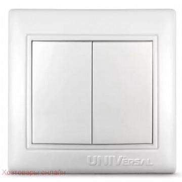 Выключатель двухклавишный UNIVersal серия Севиль, с/у, бел