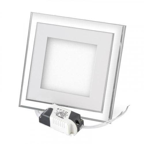 Встраиваемый светодиодный светильник с подсветкой 16w квадратный