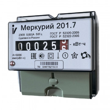 Электросчетчик Меркурий 201.7 ЖКИ 5(60)А