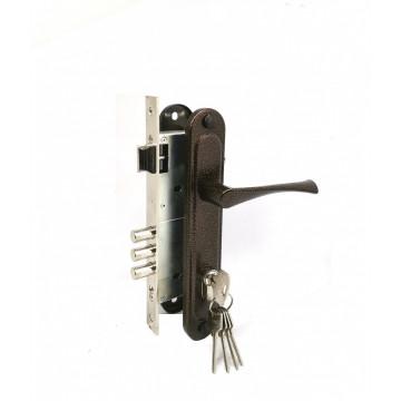 Замок врезной цилиндровый с защёлкой в комплекте с ручкой ЗВ4-85.3 (медь), 5 кл.