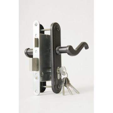 Замок врезной цилиндровый с защёлкой в комплекте с ручкой ЗВ4-3.02 (серебро), 4 кл.